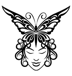 Woman face with butterfly hairdress vector
