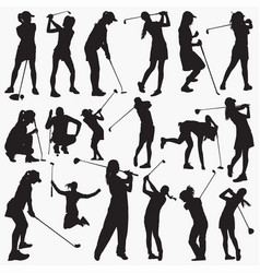 woman golfer silhouettes vector image