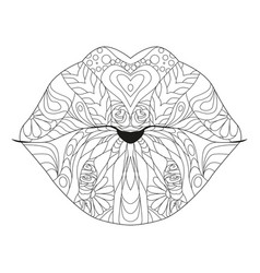 Zentangle stylized lips for coloring hand drawn vector