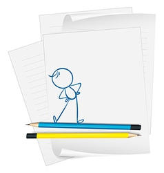 A paper with a drawing of a boy exercising vector image vector image