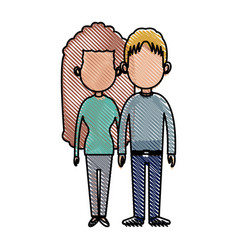 drawing couple lovely together relationship image vector image