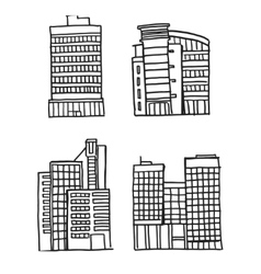 Hand drawn Business Buildings vector image vector image