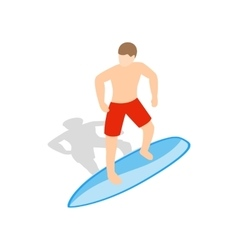 Surfer man on surfboard icon isometric 3d style vector image vector image