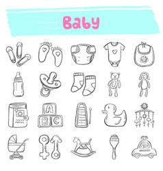 Baby hand drawn doodle icon set vector