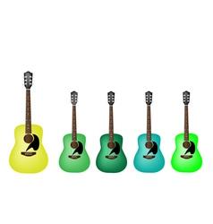 Beautiful Green Colors of Acoustic Guitars vector image