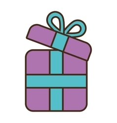 cartoon purple gift box wrap ribbon vector image