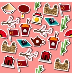 Colored China icons pattern vector image