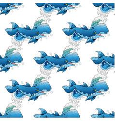 cute whale set vector image