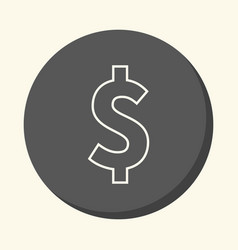 dollar symbol round line icon with the vector image vector image