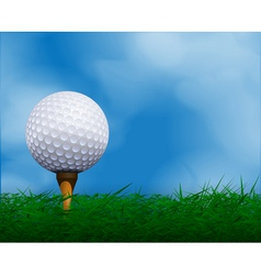Golf ball in front of sky Golf background vector image vector image