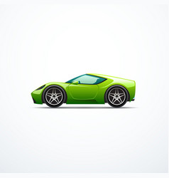 green cartoon sport car side view vector image