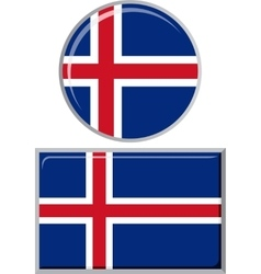 Icelandic round and square icon flag vector image