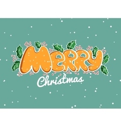 Merry Christmas Lettering Snowy Background vector image vector image