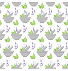 mortar herbs seamless pattern vector image