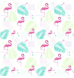 seamless pattern flamingo tropical summer ornament vector image vector image