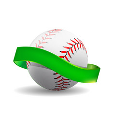 Baseball on white background with green vector