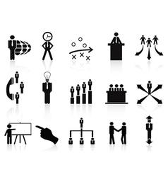 black management icons set vector image vector image