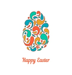 Greeting card with full color doodle easter egg-3 vector image vector image