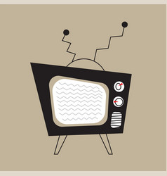 retro television with black case and curved vector image vector image