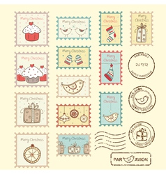 Set of christmas post stamps vector image vector image