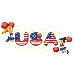 The USA cheerdancers vector image