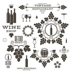 Wine Barrel Bottle Wineglass vector image vector image