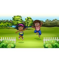Black kids near the trees vector image