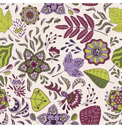 Cute seamless pattern with flowers and leaves vector image