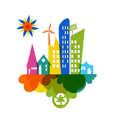Go green colorful city recycle icon vector image