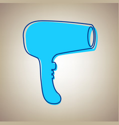 hair dryer sign sky blue icon with vector image vector image