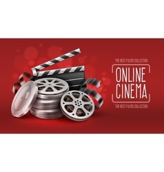 Online cinema with film tape vector image vector image