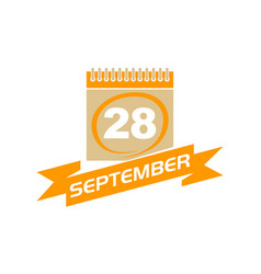 28 september calendar with ribbon vector