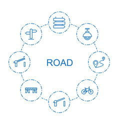 8 road icons vector