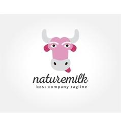 Abstract cartoon cow head logo icon concept vector