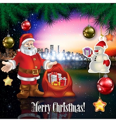 Abstract celebration with Santa Claus snowman and vector