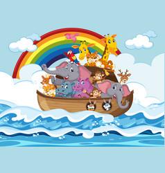 Animals on noahs ark floating in ocean scene vector