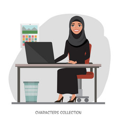 Arab businesswomen is using a computer smiling vector