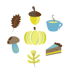 autumn harvest objects pumpkin acorn pie vector image