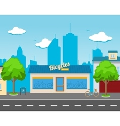 Bicycle shop in street vector