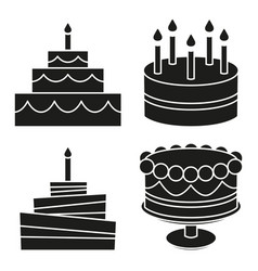 Black and white birthday cake silhouette set vector