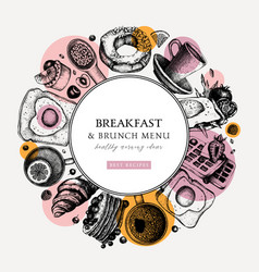 breakfast trendy wreath design morning food and vector image