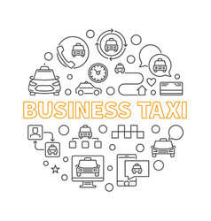 business taxi concept round simple line vector image