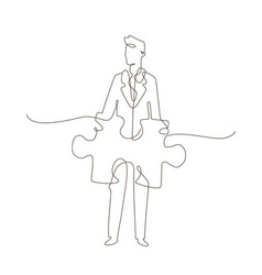 Businessman - one line design style vector