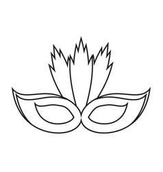 Carnival mask with feathers thin line vector