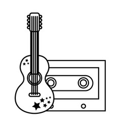 cassette with guitar music on white background vector image