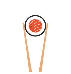 Chopsticks holding sushi roll vector