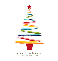 christmas and new year multicolor tree card art vector image