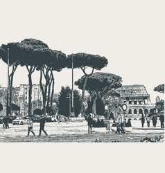 Cityscape rome street with pines and ruins of vector