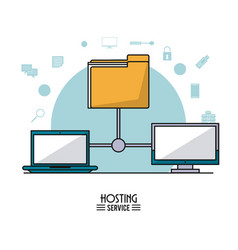 colorful poster of hosting service with computer vector image