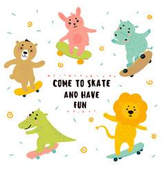 crocodile lion bunny bear hippo skateboarding vector image